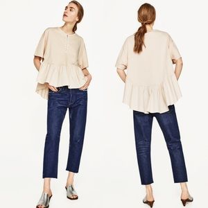 Zara Contrasting High Low Frill Top